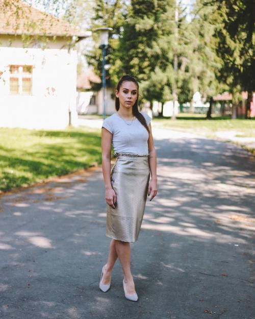 Kožna krem suknja - Ae design