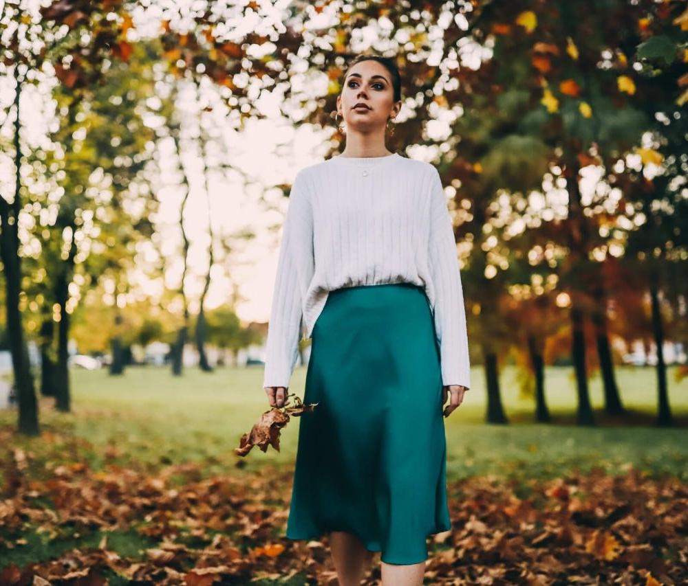 Midi suknja smaragdno zelena - Ae design