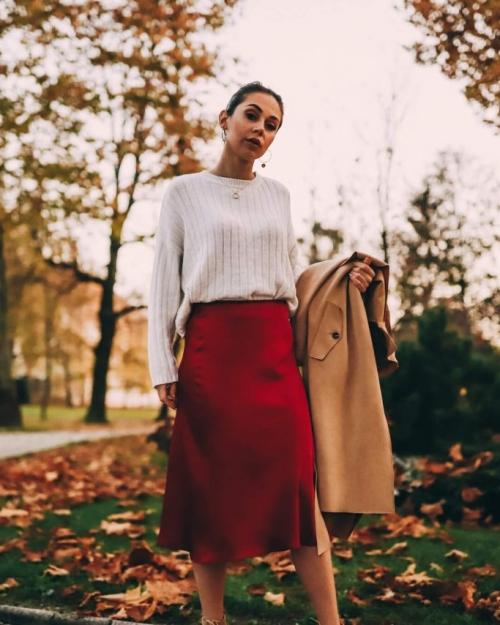 Midi suknja bordo crvena - Ae design